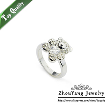 ZHOUYANG Top Quality ZYR129 Silvery Little Bear Crystal Ring Silver Color Austrian Crystals Full Sizes Wholesale