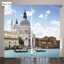 Curtains Blue Venice Italy Decor Grand Canal Basilica Santa Maria Turquoise Blue White Living Room Bedroom 2 Panels 145*265 sm