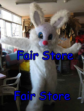 High Quality Long Hair Rabbit Easter Bunny Mascot Costume Easter Holiday Adult Fancy Dress Outfit Suit EMS FREE SHIPPING SW199