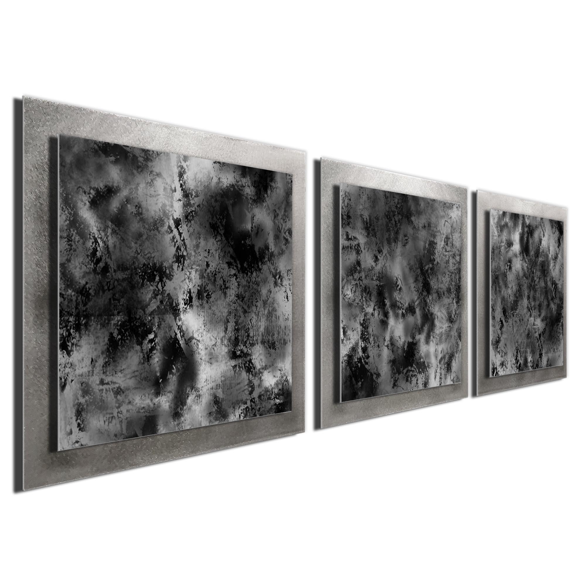 Minimalist Metal Wall Art \'Slate Essence\' - 38x12 in. - Contemporary Urban Decor - Black/Grey/White Masculine Art (1)