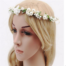 New White Hot Sale Floral Flower Festival Wedding Forehead HairBand Beach Party Headpiece(China)