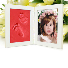 Red Wooden Baby hand and Foot Prints Clay photo frames for picture Infant Baby Inkpad Hand Mould caixa moldura porta ret(China)