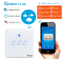 Sonoff T1 3 Gang WiFi Wireless Timer Switch & RF 86 Type UK Smart Wall Touch Light Switch Network Remote Control Smart Home(China)