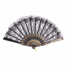 Women Girl Dancing Fans  Flower Floral Fabric Lace Folding Hand Fan Wedding Party Decor Event & Party Supplies