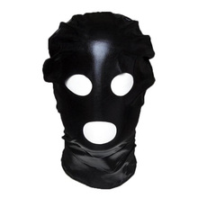 Sexy Fetish Unisex Latex Rubber Mask Black Fun Spandex Latex Open Eye&Mouth Hood Sex Toys For Couple(China)