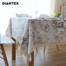 GIANTEX Retro Floral Print Decorative Table Cloth Cotton Linen Lace Tablecloth Dining Table Cover For Kitchen Home Decor U1000(China)