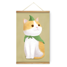 Animal Yellow White Cat Green Cloak Decoration Wall Art Pictures Canvas Wooden Scroll Paintings For Living Room Ready To Hang(China)
