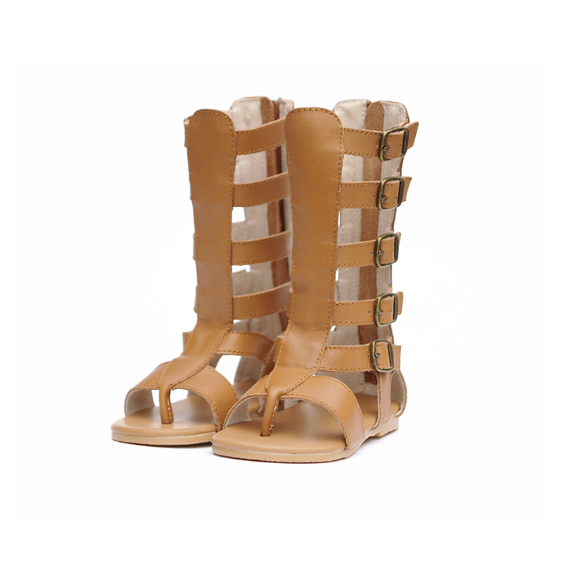 High quality Little Girls Gladiator Sandals Genuine Leather Toddler Sandals Boots Mid-calf Sandals for 2-8Y Baby Girls Sandals<br>