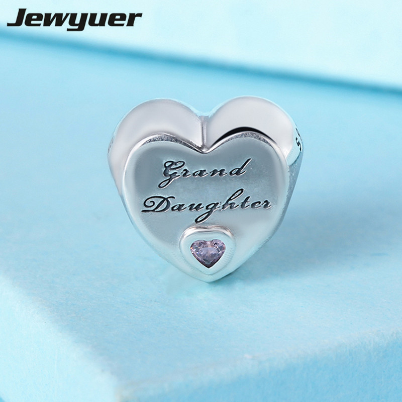 New silver 925 Granddaughter love Heart silver Charms Fit charm bead 925 sterling silver bracelets DIY gift fine jewelry BE498