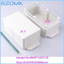 10 pcs/lot whosale szomk  box plastic box custom waterproof  hinge  box abs plastic box for electronics 200X94X66 mm