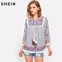 Buy SHEIN Women Three Quarter Length Sleeve Round Neck Striped Blouse Autumn Pom-Pom Tie Tassel Lace Trim Embroidered Top for $17.97 in AliExpress store