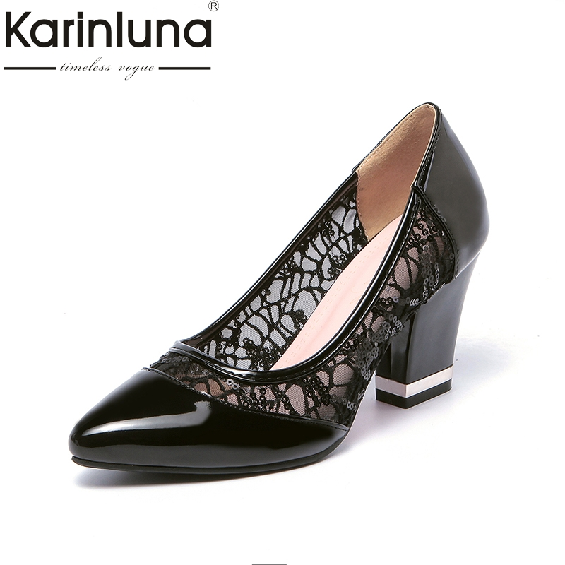 KARINLUNA new arrivals lace upper large size 33-43 pointed toe women shoes elegant slip on high heels wedding shoes woman pumps<br>