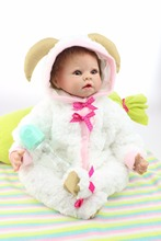 New Design 20 inches newborn baby doll lovely little goat style living doll cloth body toys for your daughter