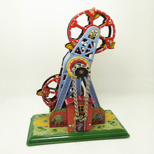 Free Shipping Antique tin toy Wind up toys metal craft robot /car/train collection Photography props xmas gift Ferris wheel;(China)