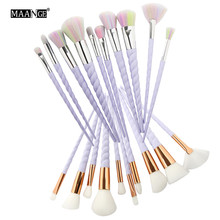 MAANGE 10pcs/set Thread Rainbow Handle Unicorn Makeup Brushes Beauty Cosmetics Foundation Blending Blush Make Up Brush Tool Kit