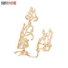 SHEEGIOR Lovely Long Rings for Women Gold Silver Color Hollow Flower Ring Men Jewelry 2 Finger Fashion Accessories Femme Gifts