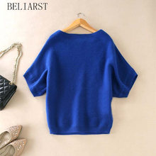 Seasons A Word Collar Cashmere Sweater New Women Loose Big yards Bat Shirt Was Thin Short-Sleeved Knit Hedging Wild Sweater(China)