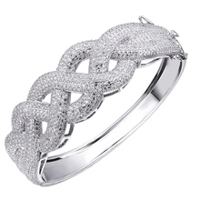 2014 Trendy Weave Shape Design Deluxe White gold color Cuff Bangle Bracelet Women Prong Setting AAA Cubic Zircon Wedding Jewelry