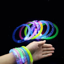 40pcs! Acrylic colorful flash bracelet LED luminous concert party cheer props baby shower Nightlight(China)