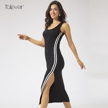 Buy Women Striped Bodycon Long Beach Summer Dress 2018 Ladies Black Sleeveless Maxi Plus Size Dresses Casual Sexy Punk Trendy Dress for $10.19 in AliExpress store