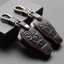 Genuine Leather Car Key Case Cover Mercedes W203 W210 W211 Amg W204 C E S Cls Clk Cla Slk Classe Smart Car Keychain Benz