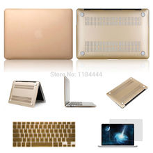 3 in 1 Gold Hard Shell Protective Matte Cover Case+ Keyboard Protector+LCD film For Macbook Air 11 13 Macbook Pro Retina13 15(China)
