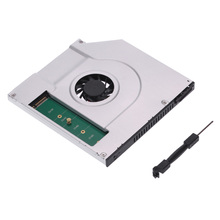2nd SATA SSD HDD Hard Drive Caddy Adapter 6.0 Gbps with a Cooling Fan for HP Dell ACER Lenovo Asus Laptop with 9.5mm CD/DVD-ROM