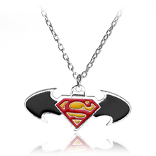 rongji jewelry Superhero long Necklace Pendant superhero red golden logo for Man and Woman Fans factory outlet