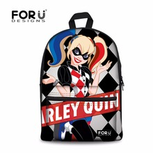 FORUDESIGNS Harley Quinn Backpack Teenage Girls Boys Children Suicide Squad School Bags Women Backpacks Student Back Pack