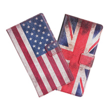 For Huawei Ascend Y300 Cover Case Retro UK USA Flag Wallet Flip Leather Book Purse Mobile Phone Accessory Fundas For Huawei Y300(China)