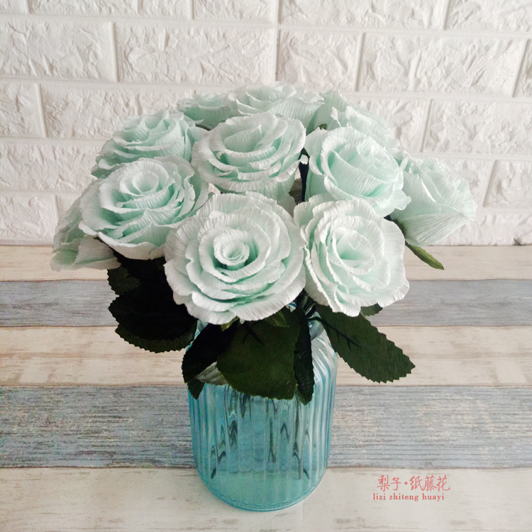 DIY crafts flower crepe paper roses materials package 15 home decoration flower party gifts<br>