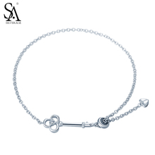 SILVERAGE Real 925 Sterling Silver Flower Bracelet Find Love The Key To Your Heart Bracelet For Girlfriend Gift