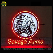 Neon Signs For Savage Arms Real Glass Tube Neon Signs Handcrafted Beer bar pub Neon Lamps Art Light Indoor Motel Sign 19x15(China)