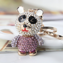 Lovely Bear Panda Metal Purple Crystal Animal Keychain Jewelry Fashion Keyring Gift Accessory Purse Bag Pendant Free Shipping(China)