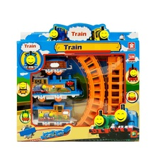 DIY Slot for Kids Baby Interesting Electric Anime Machines Railway Trains Model Vehicles Toys Gifts for Children Boy 2017(China)