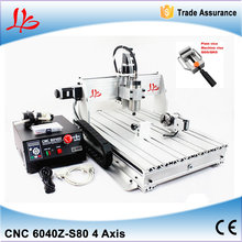 3d mini cnc engraving machine with rotary cnc router 6040 z-s80 1.5KW spindle water cooled 4 axis wood metal carving machine