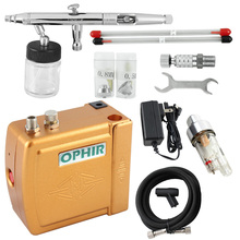 OPHIR Airbrush Cosmetic Makeup System Airbrush Kit with Air Compressor for Tanning Body Paint Cake Decorating _AC003G+093+011(China)