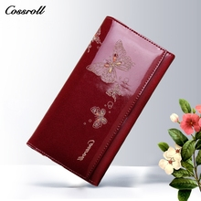 2017 New Design Cowhide Leather Wallet Women Luxury Brand Fashion Butterfly Pattern Long Womens Wallets and Purses Ladies Clutch(China)