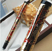 Unique Design JINHAO 5000 Red And Golden Dragon Embossed M Nib Fountain Pen stationery school office writing pens
