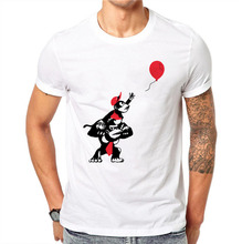 100% Cotton Cute Monkey 3D Male Red Balloon Printed T Shirts Summer Men Short Sleeve T-Shirt Summer Fashion Plus Size 4XL(China)