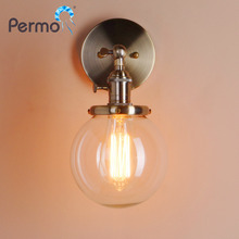 PERMO 5.9'' Modern Glass Metal Canopy Sconce Wall Lights Fixtures Retro Vintage Wall Lamp E27 Loft Home Decor Christmas Lights(China)