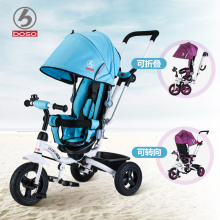 4 in 1 baby ride car, one button to fold child tricycle, seat can reverse baby bike, adjust handle baby walker