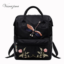 VZ embroidery women backpack mochilas nylon ladie's casual bags floral backpacks black bolsas femininas flower shoulder bag 574