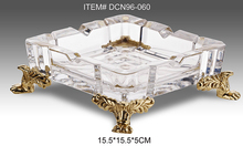 European style palace luxury model room Villa Hotel high-grade crystal glass inlaid copper ashtray ashtray ornaments(China)