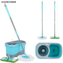 iKayaa DE Stock Spin Mops Stainless Steel 360 Rolling Magic Spin Mop & Bucket Set Rotating Floor Mop W/ 2 Mop Heads