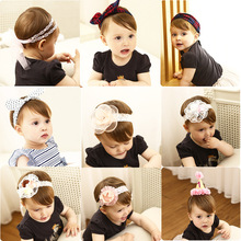 Little Girls Hair Accessories Pink Chiffon Flower Headband Kids Bowknot Hairbands Lace Wrap Elastic Hair Bands Bandeau bebe