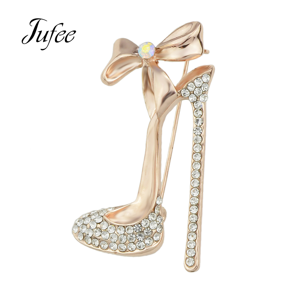 Jufee Jewelry Shining Rose Gold Color Silver Color with Colorful Rhinestone High-heeled Shoes Brooch Pins For Women Accessories(China (Mainland))