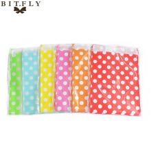 new 25pcs 13x18cm Polka Dot Kraft Paper Bags Popcorn Food Gifts Candy Treat Bags Wedding Birthday Buffet Party Decoration Favor(China)