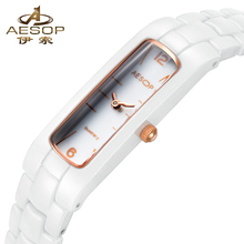 AESOP Women Watch Authentic Korean Ceramic Ladies Rectangle Waterproof Rose Gold Girl Clock Relogio Feminino Montre Femme(China)