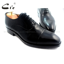 cie Square Cap Toe Handmade 100%Genuine Calf Leather In/Outsole Breathable Mens Oxford Shoe Solid Black OX216 Goodyear Welted